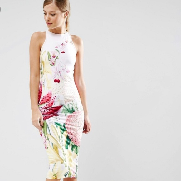 00e9ab33455b7 Ted Baker Floral high neck Pink fitted dress. M 5ac2e3906bf5a6204907c6f8